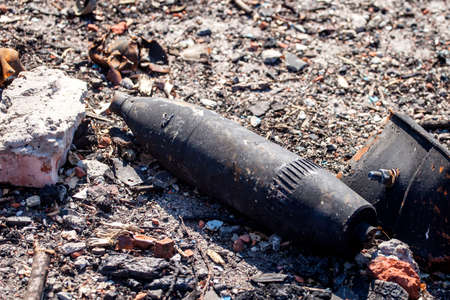 unexploded ordnance, War actions aftermath, Ukraine and Donbass conflict, closeup