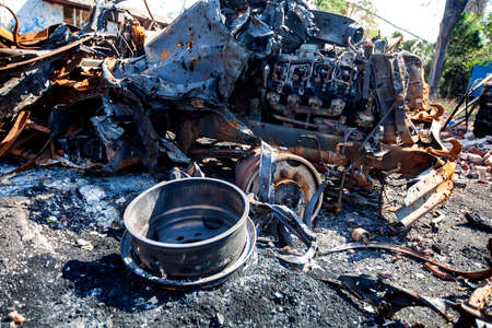 burned military equipment whip shrapnel shells, War actions aftermath, Ukraine and Donbass conflict 版權商用圖片
