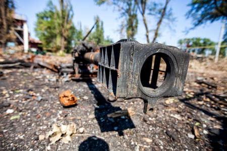gun barrel, burned artillery gun, War actions aftermath, Ukraine and Donbass conflict