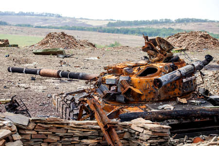 destroyed tank of the Ukrainian armed forces Stock Photo