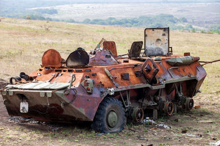 armoured personnel carrier, APC, destroyed Armored Transporter, War actions aftermath, Ukraine and Donbass conflict