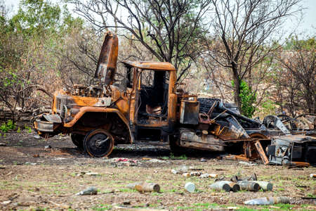 destroyed military truck, War actions aftermath, Ukraine and Donbass conflict, burnt truck