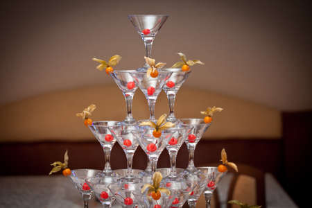 pyramid of glasses, cherry in the glass, winter cherry