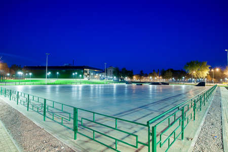 public Park infrastructure, night lighting, skating rink with artificial ice