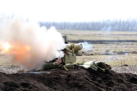 the time of the shot of ATGM, anti-tank guided missile. Stock Photo