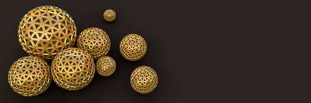 Segmented golden spheres on chocolate, top view Reklamní fotografie - 119947749