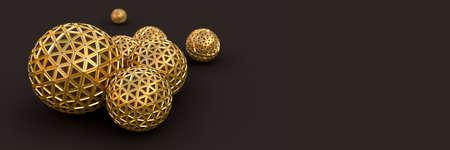 Golden spheres on chocolate, perspective view Reklamní fotografie - 119947751