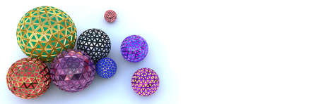 Segmented colorful spheres on white, top view