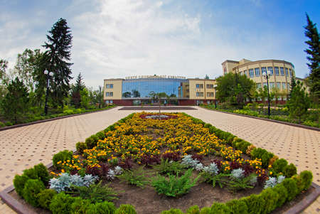 Flower bed in front of the building of