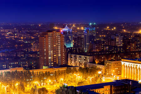 Night view of the city of Donetsk from a great height, Donetsk, Ukraine, September 2013 Editorial