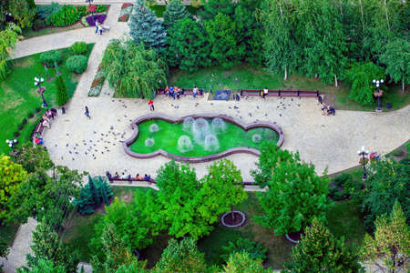 Top view to the fragment of the Pushkin boulevard with the fountain in Donetsk, Ukraine, September 2013 Editorial