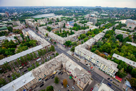 Panorama of the city from a great height, crossroad, Donetsk, Ukraine, September 2013