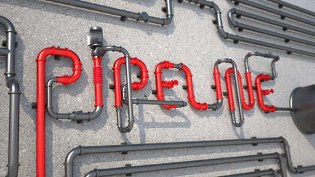 The inscription pipeline made of pipes lying on the concrete surface, 3D render illustration