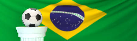 A football (soccer) ball in front of the flag of Brazil
