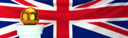 Golden Soccer ball and Great Britain flag Stock Photo