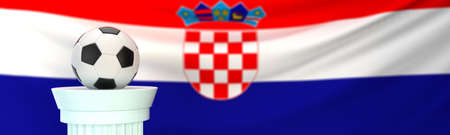A football (soccer) ball in front of Croatia flag Stock Photo