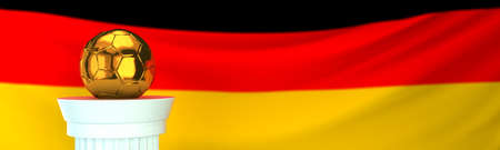 Golden football (soccer) ball in front of Germany flag