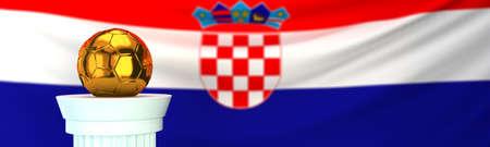 Golden football (soccer) ball and Croatia flag