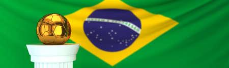 Golden football (soccer) ball and Brazil flag