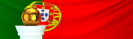 Golden football (soccer) ball stands on pedestal in front of Portugal flag, 3D render illustration with depth of field