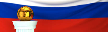 Golden football (soccer) ball stands on pedestal in front of Russia flag, 3D render illustration with depth of field Stock Photo