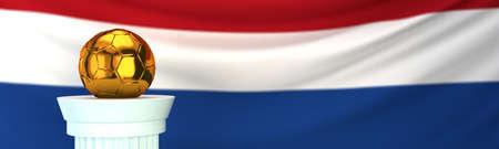 Golden football (soccer) ball stands on pedestal in front of Netherlands flag, 3D render illustration with depth of field 写真素材
