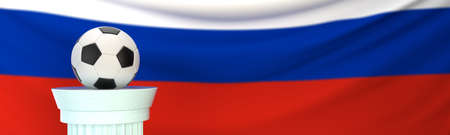 A football (soccer) ball stands on pedestal in front of Russia flag, 3D render illustration with depth of field Stock Photo