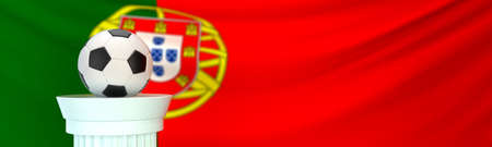 A football (soccer) ball stands on pedestal in front of Portugal flag, 3D render illustration with depth of field 写真素材