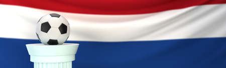 A football (soccer) ball stands on pedestal in front of Netherlands flag, 3D render illustration with depth of field Stock Photo