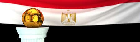 Golden football (soccer) ball stands on pedestal in front of Egypt flag, 3D render illustration with depth of field 写真素材