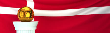 Golden football (soccer) ball stands on pedestal in front of Denmark flag, 3D render illustration with depth of field