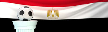 A football (soccer) ball stands on pedestal in front of Egypt flag, 3D render illustration with depth of field