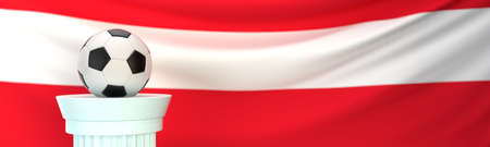 A football (soccer) ball stands on pedestal in front of Austria flag, 3D render illustration with depth of field
