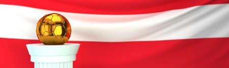 Golden football (soccer) ball stands on pedestal in front of Austria flag, 3D render illustration with depth of field