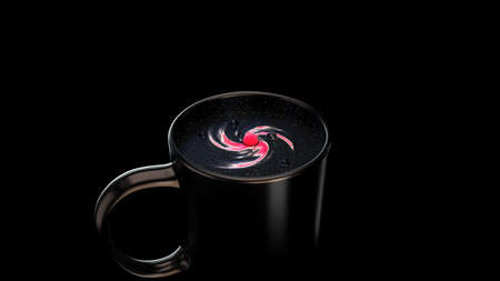 Abstract Universe in the black coffee mug, 3D rendered illustration, concept