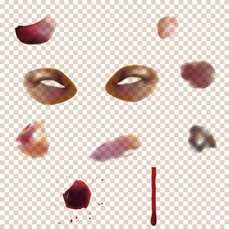 さまざまなあざをセットします。皮膚の任意の背景色に透明効果を使用しています。材料および薬効があるカタログ、報知的な制度的に最適 写真素材 - 69171502