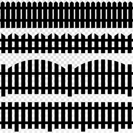 front or back yard: Black SEAMLESS fence isolated on white plaid. Vector eps10 Illustration