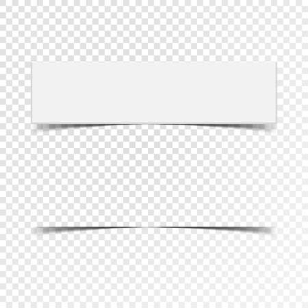 Label of blank paper banner with realistic shadow on white squared background Иллюстрация