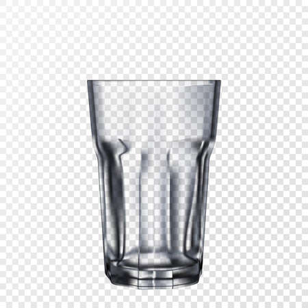 3d transparent empty faceted glass isolated on transparent background