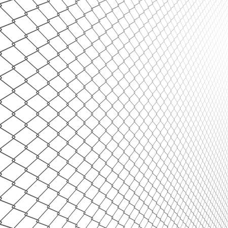 Wired fence in perspective. Vector rabinets. Illustration