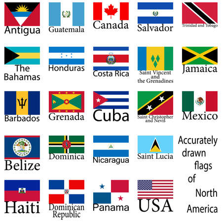 Flags of the countries of North America. High level of drawing.