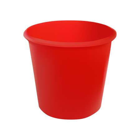 handgrip: Vector illustration realistic red plastic bucket. Isolated white background.