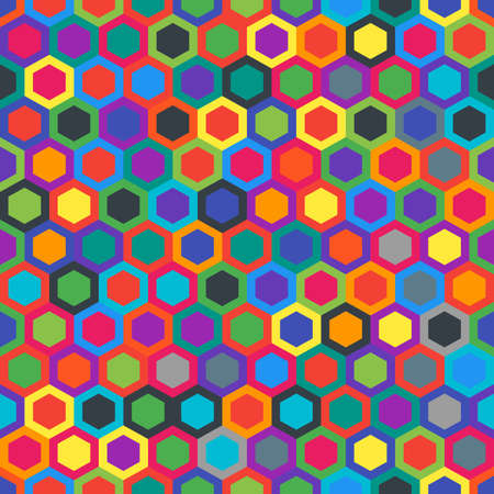 Geometric seamless texture with hexagons. Colorful pattern. Abstract background. Colors material design. Perfect combination