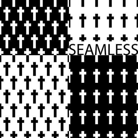Crosses vector pattern, set of crosses, cross monochrome background