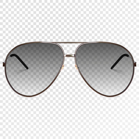 Trendy realistic black eye glasses. Modern sunglasses isolated on transparent background. Transparency effect for any background color. Illustration template - for your design