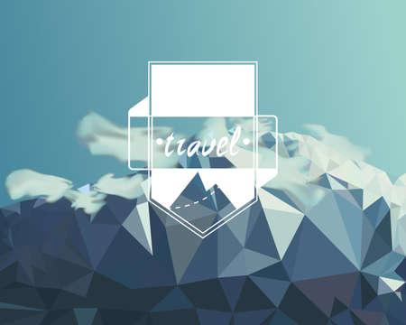 山低ポリゴン スタイルのイラスト。ベクトル