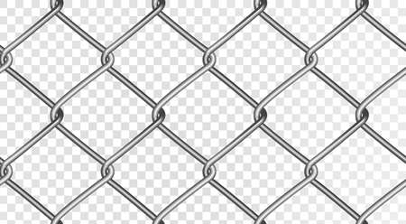 The structure of a realistic mesh fence. Seamless vector fence, isolated on a transparent background. Vector eps 10.