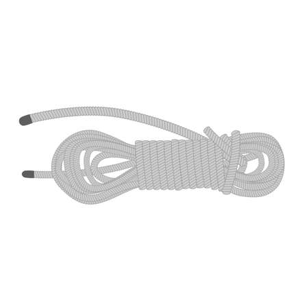 Coil of dynamic sailor rope. Isolated simple object on white background. Rope swirl.