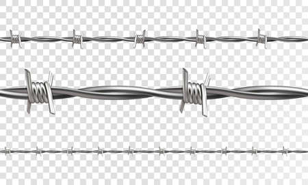 barbed wire fence: Barbed seamless on a transparent background. 3d realistic vector.