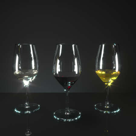 curve: Three glasses of wine. A glass of red wine, a glass of white wine, a glass of yellow wine. Dry wine, sweet wine, semisweet wine. Modeling 3d.
